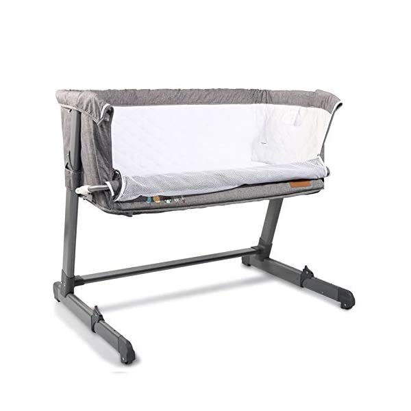 Cangaroo Baby cot Shared Love, one Side Opening, Multiple Adjustable, Colors:Grey Cangaroo suitable from birth up to approx. 11.3 kg or a body height of 86.4 cm ideal as additional bed, one side can be opened 5-fold height adjustable, bed feet 3-fold adjustable, two bed feet with castors 2