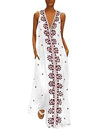Moginp Vestidos Mujer Verano Vintage Estampado Floral Playa Vestido Largos Sin Mangas
