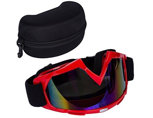 Srol - occhiali per ciclismo, sci, arrampicata, escursionismo, motocross atv, montatura cromata, antivento, antipolvere, anti-uv, con lenti specchiate box-black, resistenti al vento e alla sabbia.