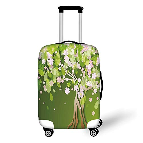 Travel Luggage Cover Suitcase Protector,Floral,Tree with Blossoming Flourishing Petals Florets Spring Elegance Print,Fern Green Light Pink,for TravelL 25.9x37.8Inch -