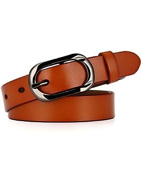 Moda correa femenina primavera y verano correa fina cuero pin hebilla cara suave jeans cinturón Naranja 105cm