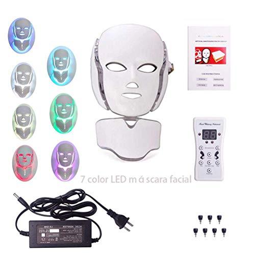 JHSHENGSHI Beauty Instrument,Photodynamische Gesichtsmaske Beauty Instrument Anti Akne Hautverjüngung LED Photodynamische Schönheitsmaske für Gesicht Hals Earbeauty Ausrüstung, White