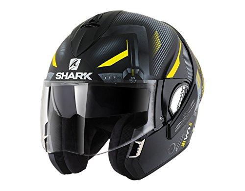 Shark Moto Casco Hark–Evoline 3shazer Mat, Negro/Amarillo/Gris, tamaño L