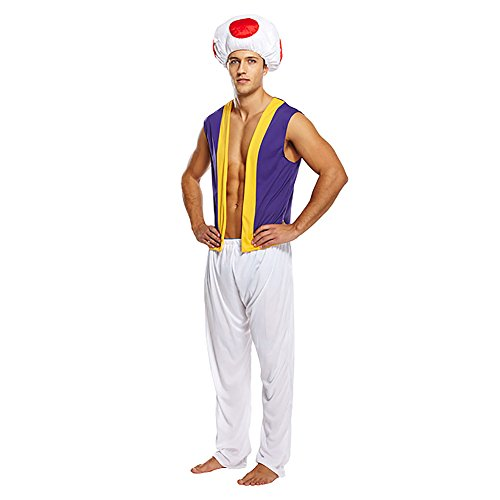 Men's Toad Mushroom Costume with Hat, Vest and Trousers