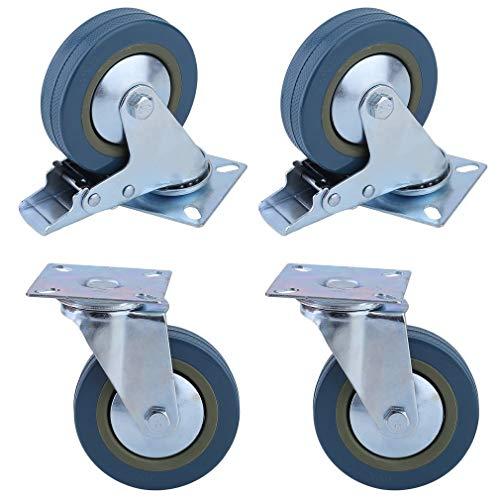 Chriskopher - 4 ruedas giratorias 100 mm goma sintética