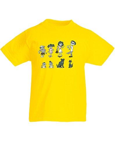 Zombie Family, Kind-druckten T-Shirt - Gelb/Transfer 5-6 Jahre