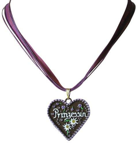 Ois Echt Trachtenschmuck Lebkuchenherz Trachtenkette - Herz mit der Aufschrift Prinzessin lila violett