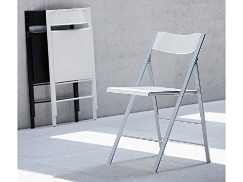 Chaise pocket-lot de 2–couleur : aluminium/blanc