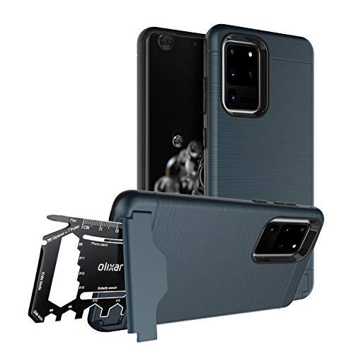 Olixar Samsung Galaxy S20 Ultra Military Case/Rugged Hülle/Survival - Kartenfach/Kartenslot - TPU Schale - Standfunktion - Kickstand/Medienstand X-Ranger - Multi Tool - Blau