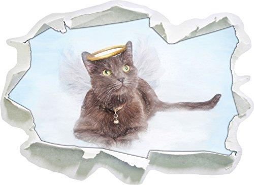 Katzen-Engel auf einer Wolke im Himmel Kunst Buntstift Effekt, Papier 3D-Wandsticker Format: 62x45...