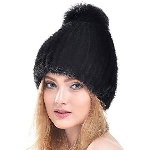 Bellefur Sombreros de invierno para mujer Sombrero de piel de visón trenzado real con piel de plata Fox Fur Beanie