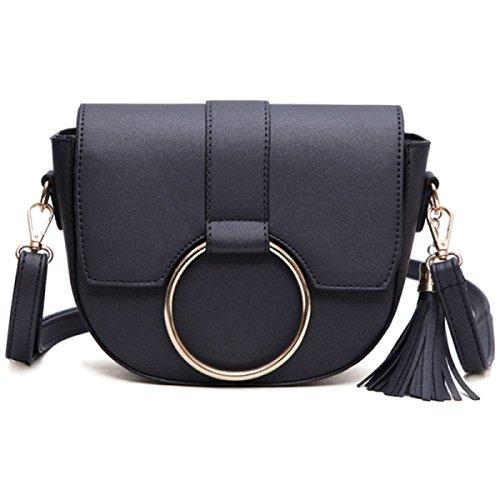 Neu Mode Persönlichkeit Ring Umhängetasche Quaste Messenger Bag Einfach Mini Tasche Black