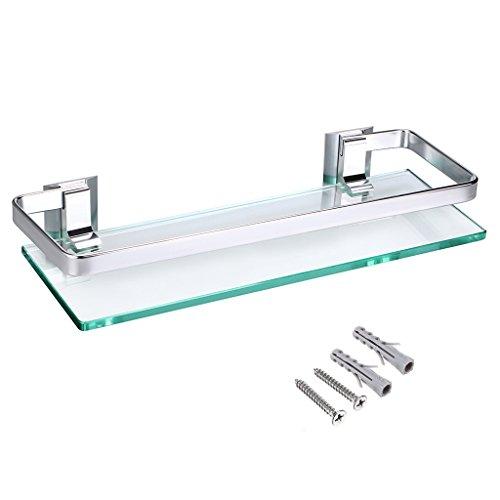 Mensole Di Alluminio.Ignpion Mensola Di Vetro Rettangolare Con Barra Di Alluminio Per Bagno Mensola Portaoggetti Da Doccia Montaggio A Parete