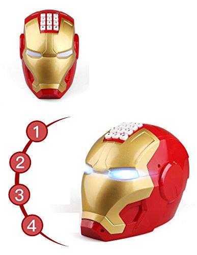 Mehakent Cartoon Iron Man Automatic Open Door Motor ATM Head Piggy Bank for Children (Red)