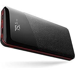 Power Bank 22400 mAh Chargeur Portable Batterie Externe Yutre Grande Capacité avec Affichage Digital LCD, 2 Sorties USB, Avec un total de 3,1 A pour Smartphones, Tablettes et autres Device, Rouge