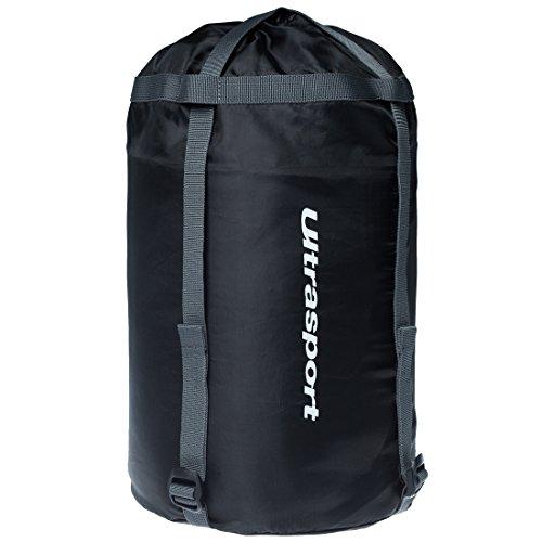 Ultrasport sacca di compressione, custodia con cinghie di compressione per trasportare sacco a pelo e indumenti, ottimo per le escursioni e il trekking, colore nero