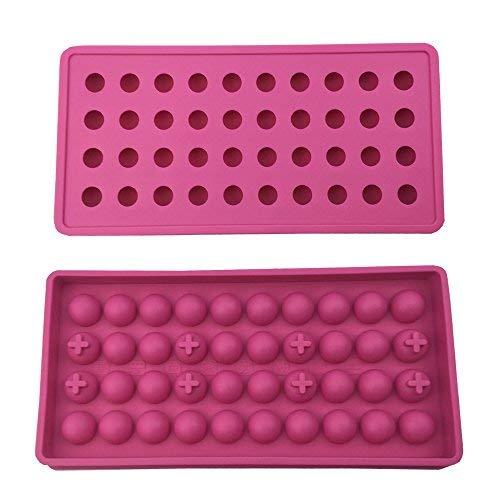 mydio 2Pack 40Tablett Mini Ice Ball Formen DIY Formen Werkzeug, ideal für Candy Pudding Jelly Milch Saft Schokolade Form oder Cocktails & Whiskey Partikel, Hot Pink