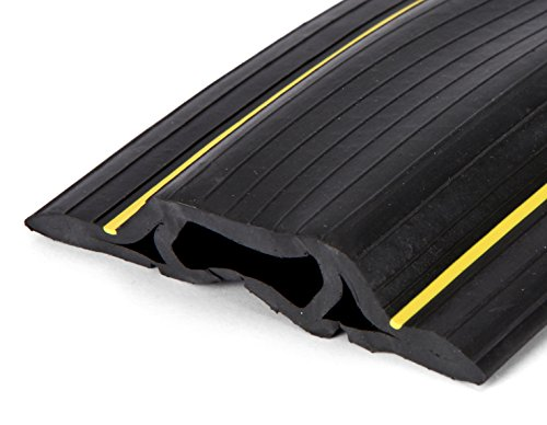 ProTech - stabiler Kabelschutz mit 3 Kabelkanälen - flexibler PVC-Schlauch - geruchsfrei - für zu Hause, im Büro & Lager -  leicht zu öffnen - Schwarz - 2 m lang -