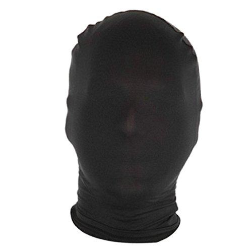 Dolity Herren Damen Spandex Stoff Maske Kopfmaske Morph Maske Halloween Cosplay Zentai Kostüm - Schwarz