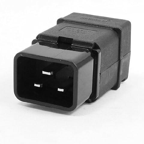 sourcingmap® Connecteur Câble Prise Alimentation AC 250V 16A Plastique Noir C20 Male