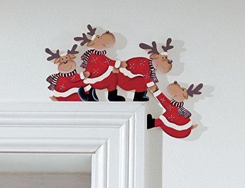 Weihnachtsdeko Purzelnde Elche für Türrahmen Holz