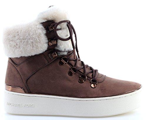 Women's Shoe Heel Boots MICHAEL KORS Kyle Hiker Brown Nutmeg Real Shearling...