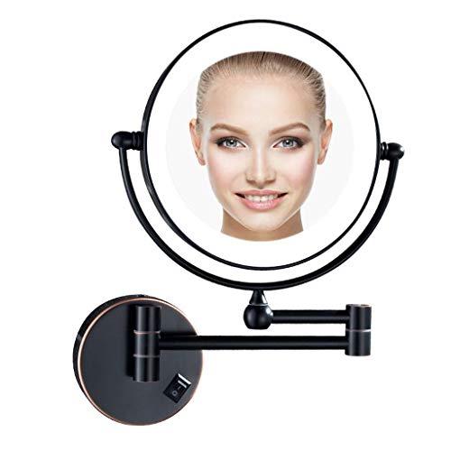 Pared Espejo de Maquillaje con Luz LED, Espejo de Aumento de Pared Extensible, Espejo de Tocador Baño...