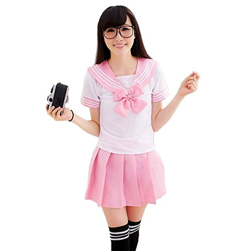 Schön Schule Uniform Cosplay Kostüm Kleid Zum für Erwachsene Mädchen Maid (M, Rosa)