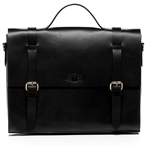 SID & VAIN Aktentasche Leder Boston groß Businesstasche Unisex 15 Zoll Laptop Bürotasche Laptoptasche mit Extra-Abtrennung echte Ledertas...