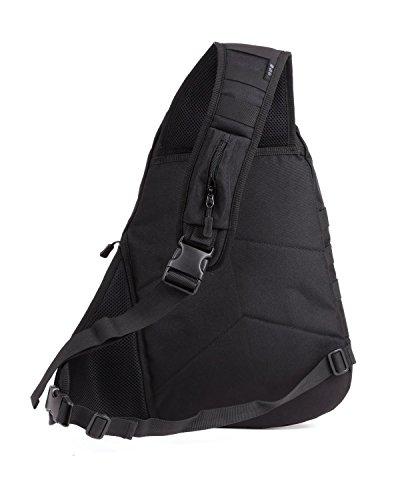 Imagen de hombre mujer bolsa táctico militar bolsa de pecho bolso al hombro bolsa impermeable al aire libre para ocio deporte senderismo bolsa , negro alternativa