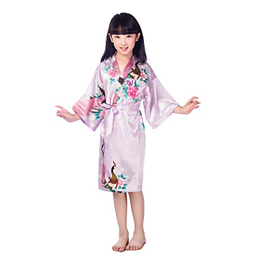 Yying Girls' Satin Kimono Robe Peacock and Blossoms