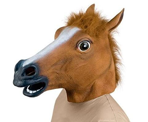 DATON Creepy Horse Head Brown Toys Party Horse Head Mask Rubber Halloween Costume Cosplay Decorations