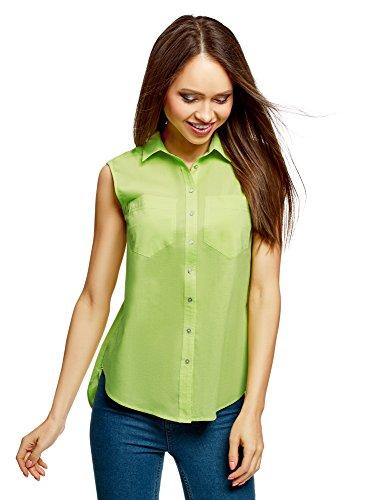 oodji Ultra Damen Ärmellose Bluse Basic aus Baumwolle, Grün, DE 40 / EU 42 / L -