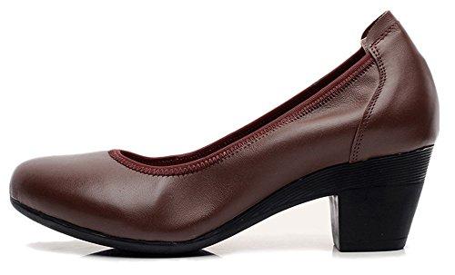 Fangsto  Chunky Heel Pumps, Escarpins pour femme Multicolore Couleurs mélangées Marron