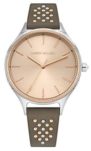 Karen Millen Unisex-Adult Analogue Classic Quartz Watch with Leather Strap KM175E