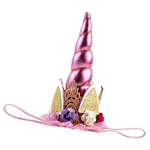 Prettyia Einhorn Haarreif mit Horn Kostüm Haarschmuck Weihnachten Halloween Deko - Rosa, wie beschreiben