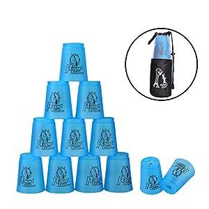 Stacking Cups de PP con Tutoriales Sport Stacking 1 Bolsa +1 Polo Portátil para Guardar Desarrolla la Habilidad y la Destreza (Azul)