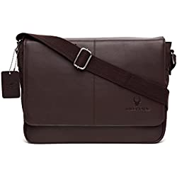WildHorn Urban Edge Genuine Leather-Nylon Laptop Messenger Bag