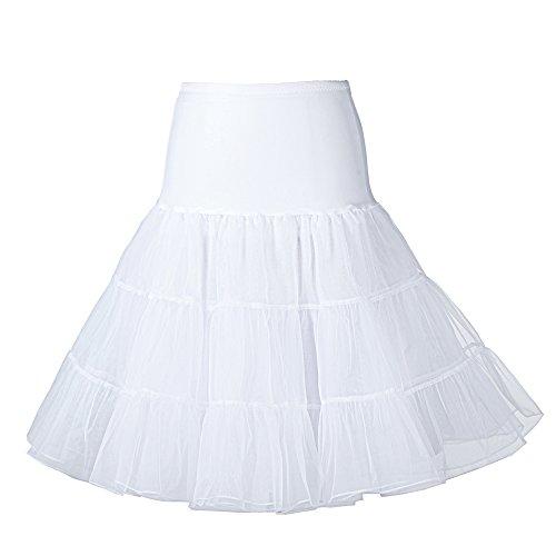 Boolavard 1950 26' Rockabilly Jupon Jupon Retro Vintage Petticoat Tutu TM (S-M (32-40), Blanc)