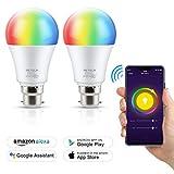 Reteck Smart WiFi Light Bulb B22 7W, Dimmable RGB LED Bulb, 600LM, Remote
