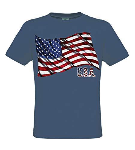 DarkArt-Designs Flag U.S.A. - Amerikanisches Flaggen T-Shirt für Herren und Damen - Flaggenmotiv Shirt USA Party&Freizeit Lifestyle regular fit, Größe M, denim