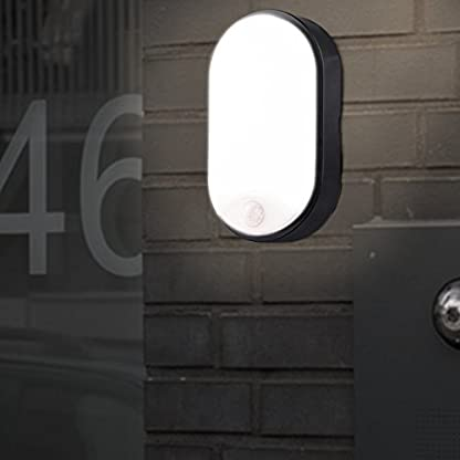 10W LED 4000K IP54 Flush Wall Mounted Bulkhead Light Fitting with Black Trim – Perfect for Indoor, Outdoor, Bath, Office, Kitchen, Hallway, Corridor, Utility, Garden, Shed, Workshop, Patio etc