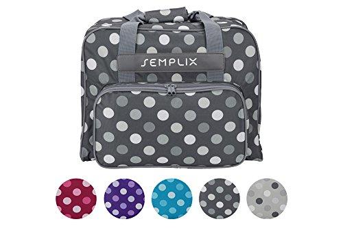 SEMPLIX Nähmaschinentasche Polka Dots anthrazit/grau, 45x34x24 | stabile Transport und Aufbewahrungs Tasche in vielen frischen Farben, für alle gängigen Haushaltsnähmaschinen