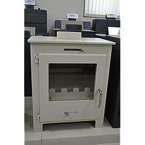 Estufa de leña para leña, color marfil, quemador de troncos de combustible, estufa de leña, 11 kW