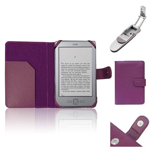 """Xtra-Funky Exklusiv PU-Leder-Geldbörse Buch Folio-Stil Fall für Amazon Kindle 4 (Schwarz oder Silber 6 \""""E-Ink-Display Keine Tastatur-Modell) mit dem Klipp auf Robotik Klapp Licht - Lila"""