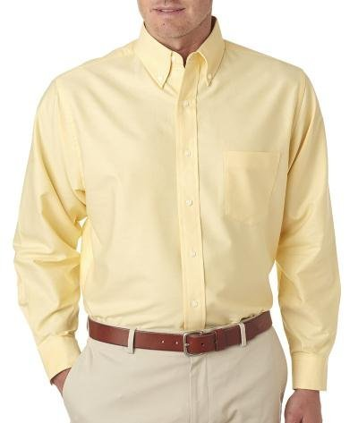 UltraClub� Men's Classic Wrinkle-Free Long-Sleeve Oxford (Butter) (Large)