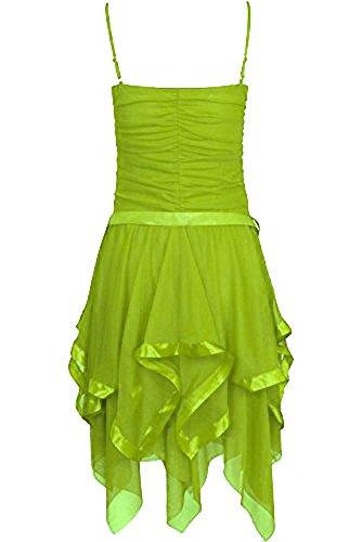 Fast Fashion - Robe Mousseline De Soie Plaine Zigzag Ourlet Prom Party Cravate De Ceinture Ruché - Femmes Perroquet Vert