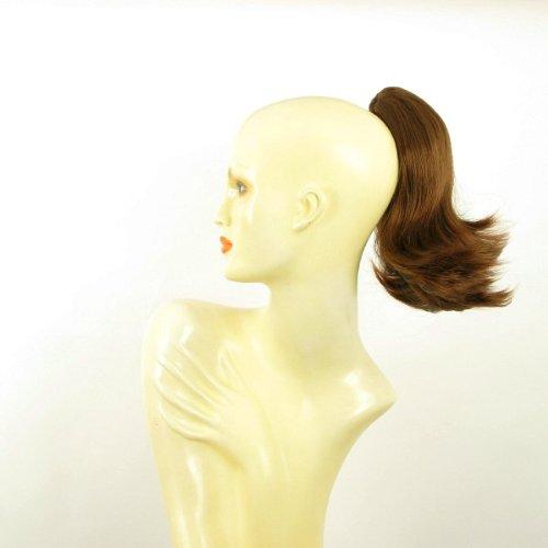 Postiche queue de cheval femme extension courte 28 cm châtain doré cuivré ref 9 en 30