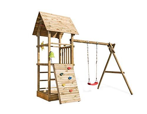 Spielturm Alex 3 mit Schaukel, Sandkasten, Kletterwand, Rutsche wählen:ohne Rutsche, Sicherheit wählen:ohne Bodenanker