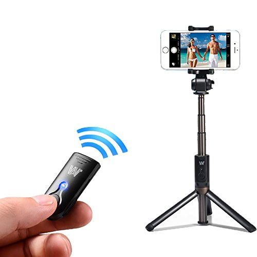 Mini Telescopic Wireless Bluetooth Selfie Stick, Bluetooth Wireless Tripod Leather Selfie Stick with Bluetooth Remote Control Exquisite Gifts, Led Selfie Ring Light Included for iPhone 6s/6s Plus/6/6 Plus, Android Smartphones (Black) (Screw Pocket Thread)